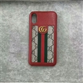 Classic Stripe Gucci Leather Back Covers Metal Cases For iPhone XS - Red