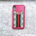 Classic Stripe Gucci Leather Back Covers Metal Cases For iPhone XS - Rose