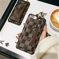 Classic Zipper LV Plaid Leather Back Covers Holster Cases For iPhone XS - Brown