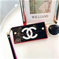 Fashion Chanel Button Wallet Cases Leather + Silicone Covers For iPhone XS - Black Rose