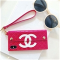 Fashion Chanel Button Wallet Cases Leather + Silicone Covers For iPhone XS - Rose