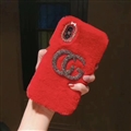 Fashion Gucci Female Keep Warm Wool Cases Plush Back Covers for iPhone XS - Red