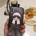 Fendi Karl Lagerfeld Rabbit Fur Leather Cases for iPhone XS Hard Back Covers Unique Feather - Black