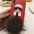 Fendi Karl Lagerfeld Rabbit Fur Leather Cases for iPhone XS Hard Back Covers Unique Feather - Red