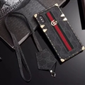 Gucci Faux Leather Ribbon Lanyards Cases Shell For iPhone XS Silicone Soft Covers - Black