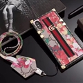 Gucci Faux Leather Ribbon Lanyards Cases Shell For iPhone XS Silicone Soft Covers - Red