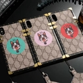 Gucci Faux Leather Rivet Lanyards 25 Cats For iPhone XS Silicone Soft Covers - Pink
