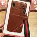 Gucci Flower Strap Flip Leather Cases Ribbon Back Holster Cover For iPhone XS - Brown