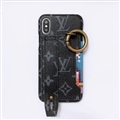 High Quality Shell LV Flower Leather Back Covers Holster Cases For iPhone XS - Black
