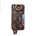 High Quality Shell LV Flower Leather Back Covers Holster Cases For iPhone XS - Brown