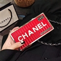 High-grade Chanel Container Hanging Rope Cover Chain Electroplate Cases for iPhone XS - Red