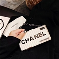 High-grade Chanel Container Hanging Rope Cover Chain Electroplate Cases for iPhone XS - White
