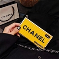 High-grade Chanel Container Hanging Rope Cover Chain Electroplate Cases for iPhone XS - Yellow