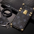 LV Faux Leather Rivet Lanyards Cases Shell For iPhone XS Silicone Soft Covers - Black