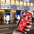 LV Faux Leather Rivet Lanyards Cases Shell For iPhone XS Silicone Soft Covers - Red