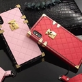 LV Lattice Faux Leather Rivet Lanyards Cases Shell For iPhone XS Silicone Soft Covers - Red
