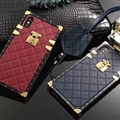 LV Lattice Faux Leather Rivet Lanyards Cases Shell For iPhone XS Silicone Soft Covers - Wine Red
