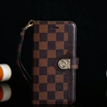 LV Lattice Strap Flip Leather Cases Button Book Genuine Holster Cover For iPhone XS - Brown