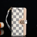 LV Lattice Strap Flip Leather Cases Button Book Genuine Holster Cover For iPhone XS - White