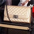 Long Chain Chanel Handbag Genuine Leather Case Book Flip Holster Cover For iPhone XS - Gold