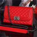 Long Chain Chanel Handbag Genuine Leather Case Book Flip Holster Cover For iPhone XS - Red