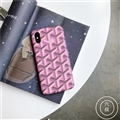 Personalized Goyard Leather Pattern Cases Hard Back Covers for iPhone XS - Pink