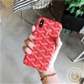 Personalized Goyard Leather Pattern Cases Hard Back Covers for iPhone XS - Red