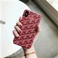 Personalized Goyard Leather Pattern Cases Hard Back Covers for iPhone XS - Rose
