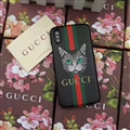 Personalized Gucci Ribbon Cats Leather Pattern Cases Hard Back Covers for iPhone XS - Black