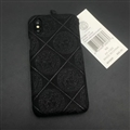 Personalized Versace Leather Pattern Cases Hard Back Covers for iPhone XS - Black