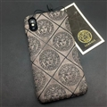 Personalized Versace Leather Pattern Cases Hard Back Covers for iPhone XS - Gray