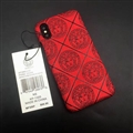 Personalized Versace Leather Pattern Cases Hard Back Covers for iPhone XS - Red