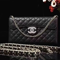 Pretty Chain Chanel folder leather Case Book Flip Holster Cover for iPhone XS - Black