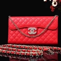 Pretty Chain Chanel folder leather Case Book Flip Holster Cover for iPhone XS - Red