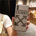 Retro Skin Casing OFF-WHITE Leather Back Covers Holster Cases For iPhone XS - Grey
