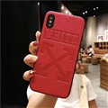 Retro Skin Casing OFF-WHITE Leather Back Covers Holster Cases For iPhone XS - Red