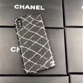Simple Shell Chanel Print Leather Cases for iPhone XS Skin Hard Back Covers - Black