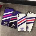 Unique Adidas Blue Light Mirror Surface Silicone Glass Covers Stripe Back Shell For iPhone XS - Blue