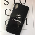 Unique Chanel Blue Light Mirror Surface Silicone Glass Covers Protective Back Cases For iPhone XS - Black