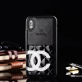 Unique Flower Chanel Genuine Leather Back Covers Holster Cases For iPhone XS - Black