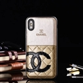 Unique Flower Chanel Genuine Leather Back Covers Holster Cases For iPhone XS - Gold