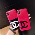 Unique Flower Chanel Genuine Leather Back Covers Holster Cases For iPhone XS - Rose