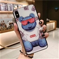 Unique LV Blue Light Bear Silicone Glass Covers Supreme Back Cases For iPhone XS - Blue