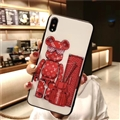 Unique LV Blue Light Bear Silicone Glass Covers Supreme Back Cases For iPhone XS - Red