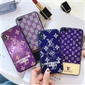 Unique LV Blue Light Mirror Surface Silicone Glass Covers Protective Back Shell For iPhone XS - Gold