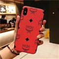 Unique Skin Casing MCM Leather Back Covers Holster Cases For iPhone XS - Red