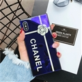 Camellia Chanel Blue Light Laser Silicone Glass Covers Protective Back Cases For iPhone XS Max - Blue