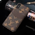 Classic Flower LV Leather Back Covers Holster Cases For iPhone XS Max - Brown