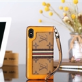 Classic LV Big Flower Leather Covers Metal Holster Cases For iPhone XS Max - Yellow
