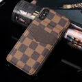 Classic Lattice LV Leather Back Covers Holster Cases For iPhone XS Max - Brown